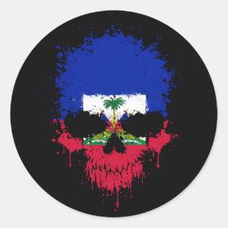 Haiti Dripping Splatter Skull Classic Round Sticker