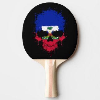 Haiti Dripping Splatter Skull Ping Pong Paddle