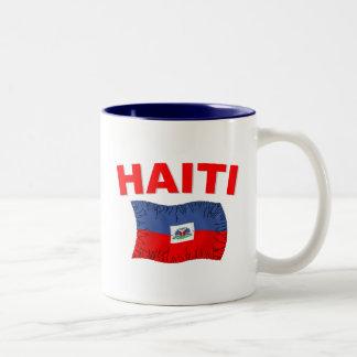 Haiti Earthquake Flag Design Two-Tone Coffee Mug