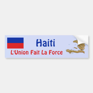Haiti Flag and Map Bumper Sticker