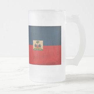 Haiti Flag Frosted Glass Beer Mug