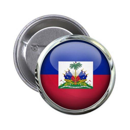 Haiti Flag Glass Ball 2 Inch Round Button