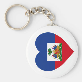 Haiti Flag Heart Basic Round Button Keychain