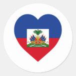 Haiti Flag Heart Classic Round Sticker