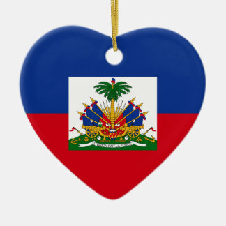 Haiti Flag Heart Double-Sided Heart Ceramic Christmas Ornament