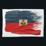 """Haiti Flag Kitchen Towel<br><div class=""""desc"""">Original flag design looks like it was painted on! Commemorate your world travels, celebrate your heritage or show everyone how much you love your home! This image is available on a variety of products. Check out all of our other designs at http://www.zazzle.com/zipperedflags Do you have a request or questions? Contact...</div>"""