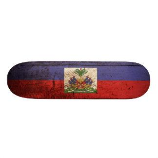 Haiti Flag on Old Wood Grain Skateboard