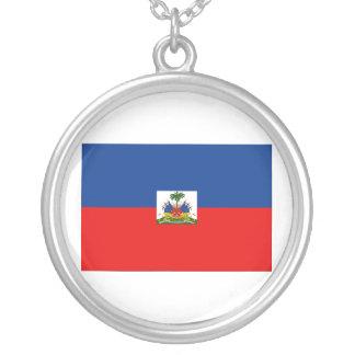 Haiti Flag Round Pendant Necklace