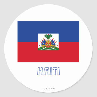 Haiti Flag with Name Classic Round Sticker