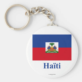Haiti Flag with Name in French Keychain