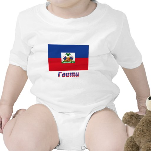Haiti Flag with name in Russian Tee Shirts