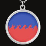 Haiti Gnarly Flag Silver Plated Necklace