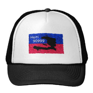 Haiti Help Flag, Text Message 90999 to Donate Trucker Hat