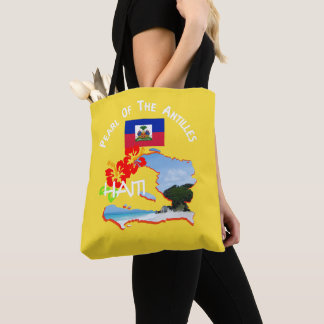 Haiti Hibiscus Flower & Map Sunny Vacation Tote Bag