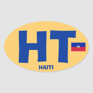 Haiti Large HT Euro-style Oval Oval Sticker