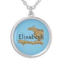 Haiti Map   Name Necklace