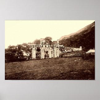 Haití, sin el palacio de Souci, poster del vintage