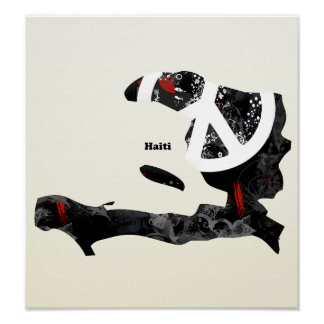Haiti Trendy Peace Sign with Haitian map Poster