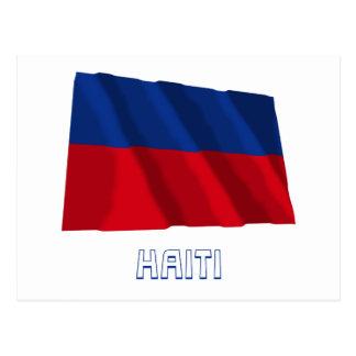 Haiti Waving Civil Flag with Name Postcard