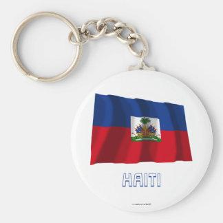 Haiti Waving Flag with Name Basic Round Button Keychain
