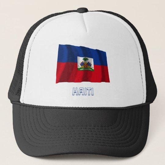 Haiti Waving Flag with Name Trucker Hat