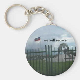 haiti, we will recover basic round button keychain