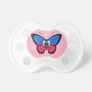 Haitian Butterfly Flag on Pink Baby Pacifier