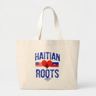 Haitian flag designs large tote bag