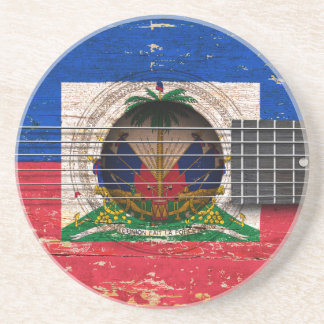 Haitian Flag on Old Acoustic Guitar Drink Coaster