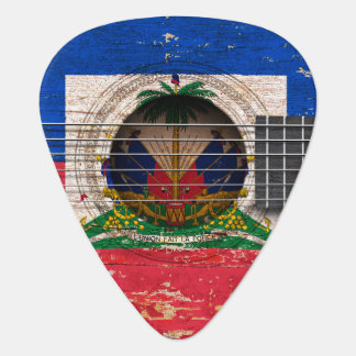 Haitian Flag on Old Acoustic Guitar Guitar Pick