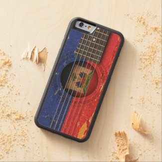 Haitian Flag on Old Acoustic Guitar Carved® Maple iPhone 6 Bumper Case