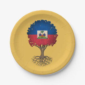 Haitian Flag Tree of Life Customizable 7 Inch Paper Plate