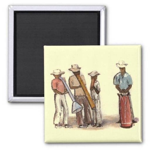 Haitian Street Musicians 2 Inch Square Magnet