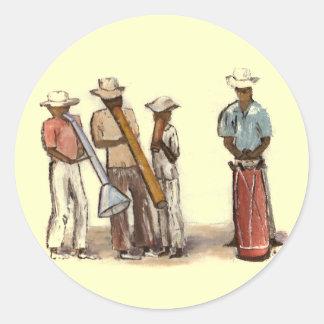 Haitian Street Musicians Classic Round Sticker