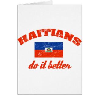 Haitiano mejora tarjeta de felicitación