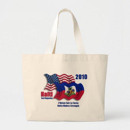 Haitiano y banderas que agitan americanas para Hai Bolsa Tela Grande