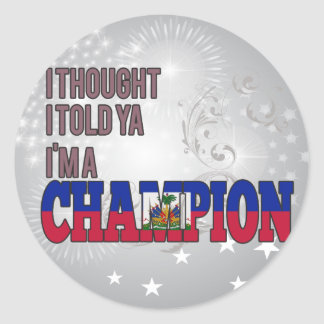 Haitiano y un campeón pegatina redonda