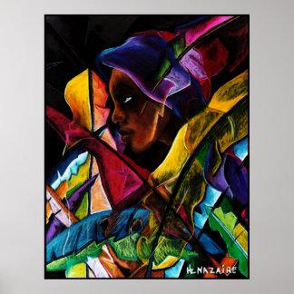 Haitienne en Vitraux IV - entoilage de pastel Print