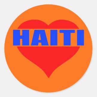 haitiheart001 classic round sticker