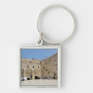 HaKotel - la pared occidental en Jerusalén Llavero Cuadrado Plateado