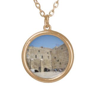HaKotel  - The Western Wall In Jerusalem Round Pendant Necklace