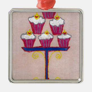 Hakuna matata cupcakes square metal christmas ornament
