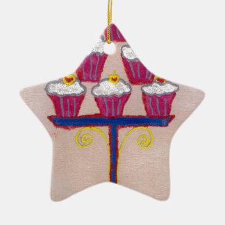 Hakuna matata cupcakes Double-Sided star ceramic christmas ornament