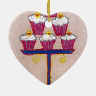 Hakuna matata cupcakes Double-Sided heart ceramic christmas ornament