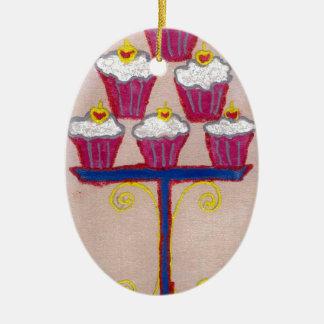 Hakuna matata cupcakes Double-Sided oval ceramic christmas ornament
