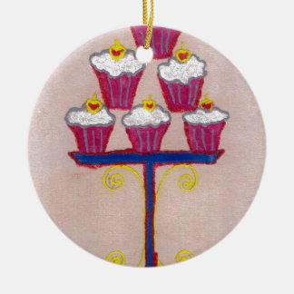 Hakuna matata cupcakes Double-Sided ceramic round christmas ornament