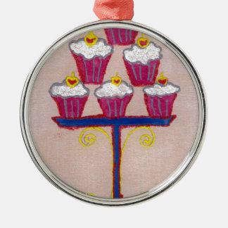 Hakuna matata cupcakes round metal christmas ornament