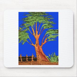 Hakuna Matata Eco Blue Green Acacia Tree. Mouse Pads