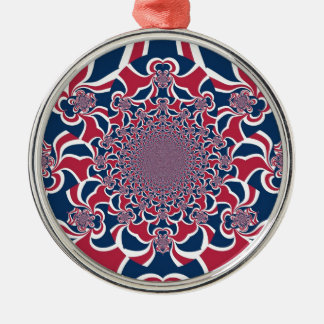 Hakuna Matata Gifts trendy stylish red and blue.jp Round Metal Christmas Ornament
