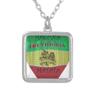 Hakuna Matata I love Ethiopia Colors.png Silver Plated Necklace